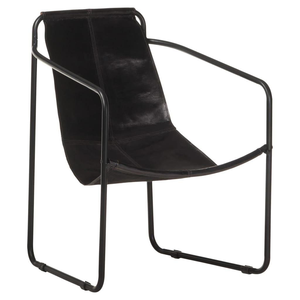 vidaXL Fotelja za opuštanje od prave kože crna