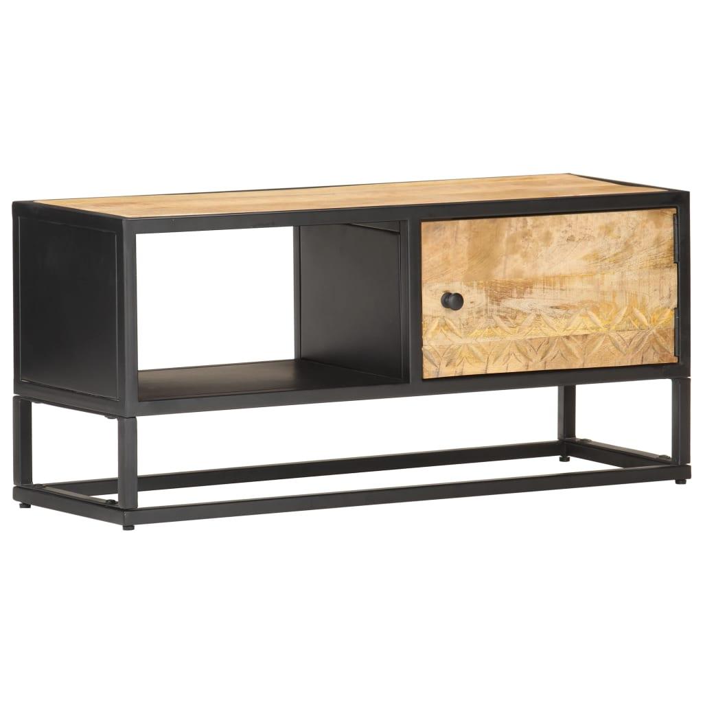 vidaXL Comodă TV cu ușă sculpată, 90 x 30 x 40 cm, lemn de mango brut poza vidaxl.ro