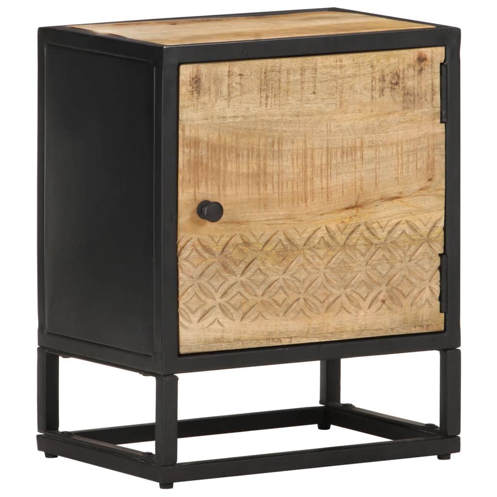 vidaXL Noptieră cu ușă sculptată, 40 x 30 x 50 cm, lemn mango brut imagine vidaxl.ro