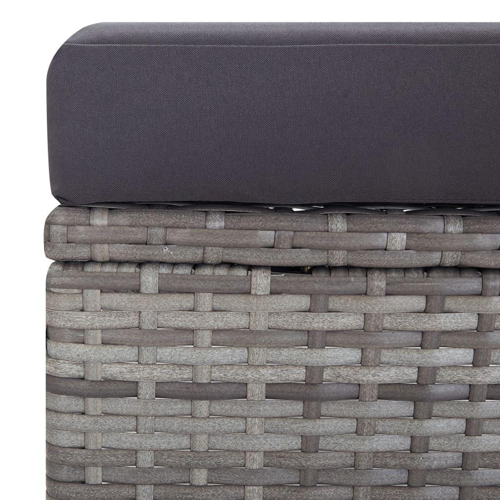 vidaXL Tuinstoel verstelbaar met kussens poly rattan grijs
