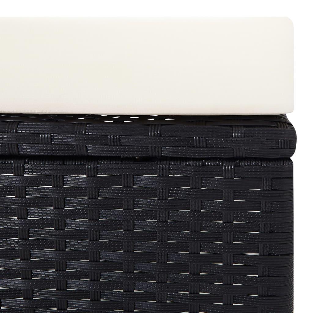 vidaXL 2-delige Loungeset met kussens poly rattan zwart