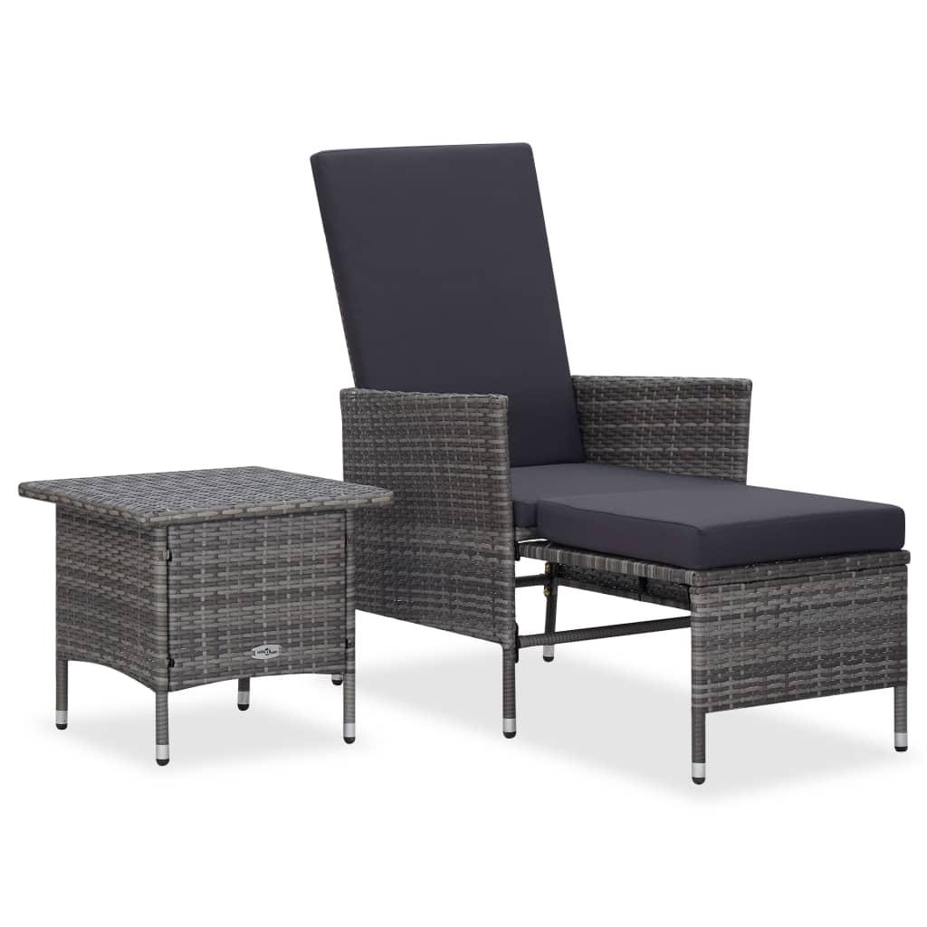 vidaXL Set mobilier de grădină cu perne, 2 piese, gri, poliratan vidaxl.ro