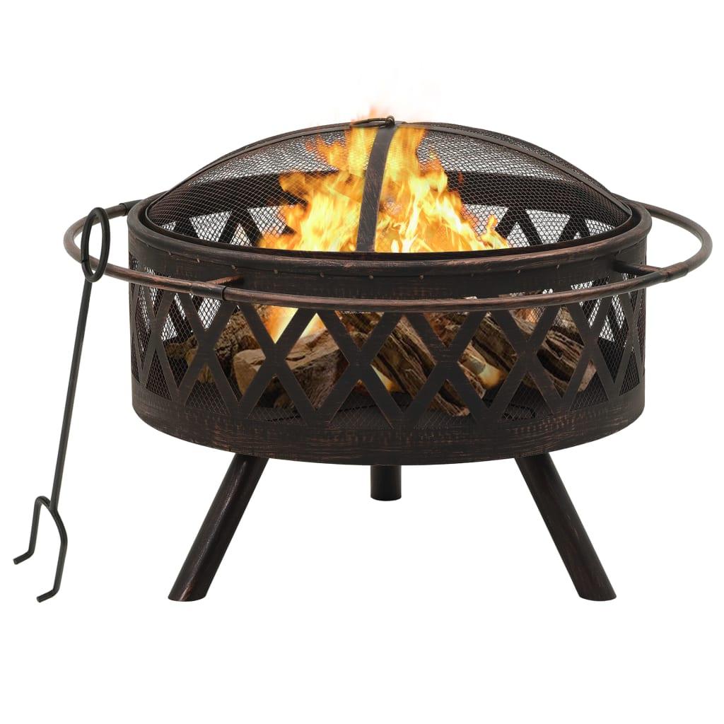 vidaXL Vatră de foc rustică, cu vătrai, 76 cm, oțel, XXL poza 2021 vidaXL