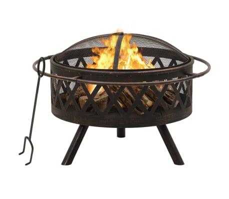 "vidaXL Rustic Fire Pit with Poker 29.9"" XXL Steel"