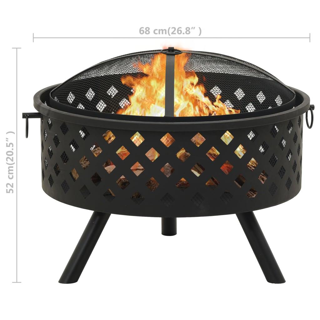 vidaXL Vatră de foc cu vătrai 68 cm oțel XXL