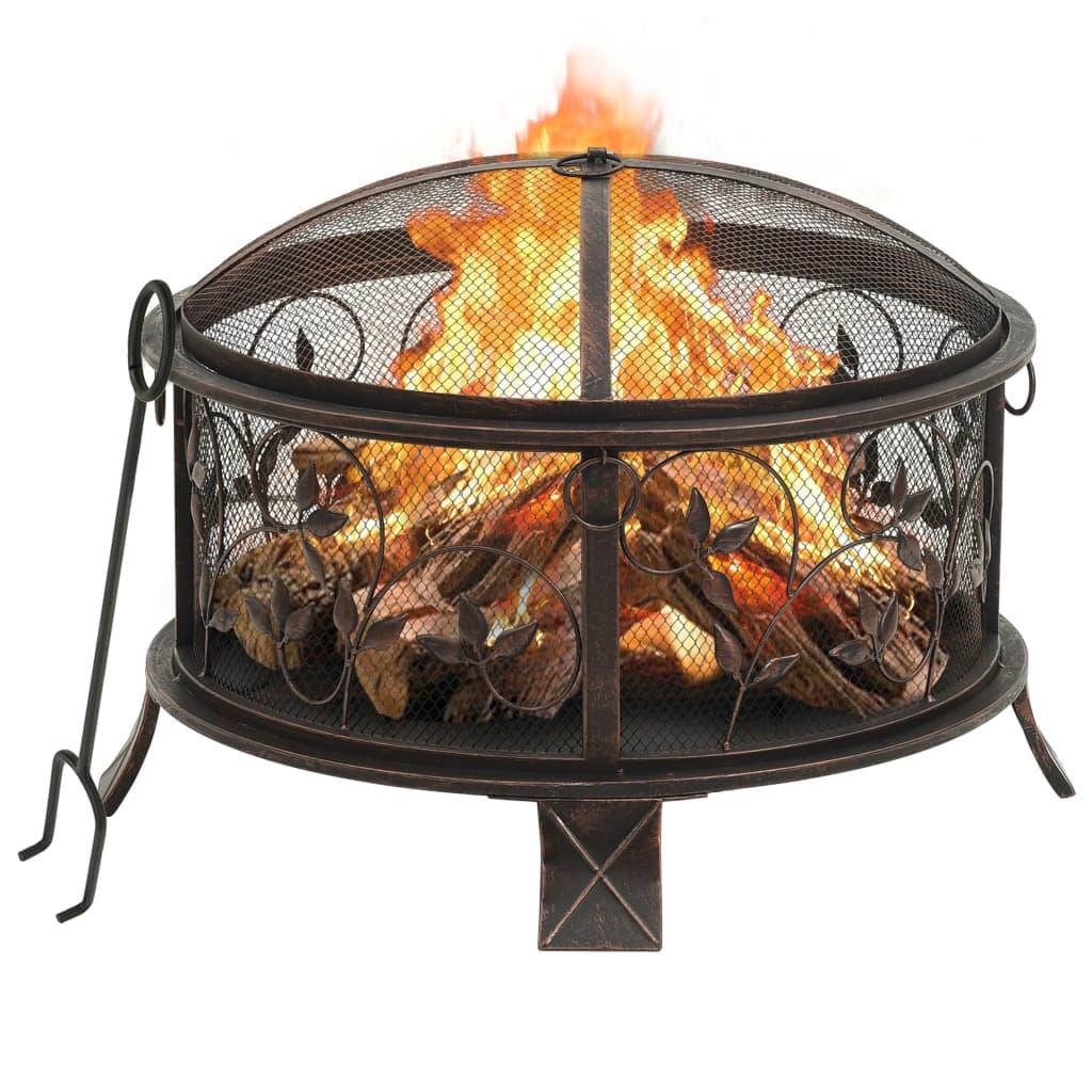 vidaXL Rustikální přenosné ohniště s pohrabáčem 67,5 cm XXL ocel