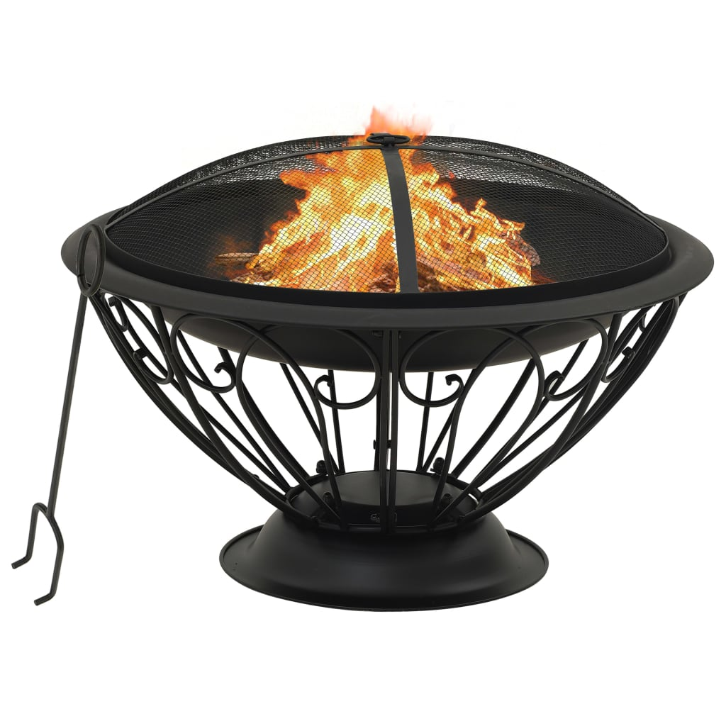 vidaXL Vatră de foc cu vătrai, 75 cm, oțel, XXL poza 2021 vidaXL