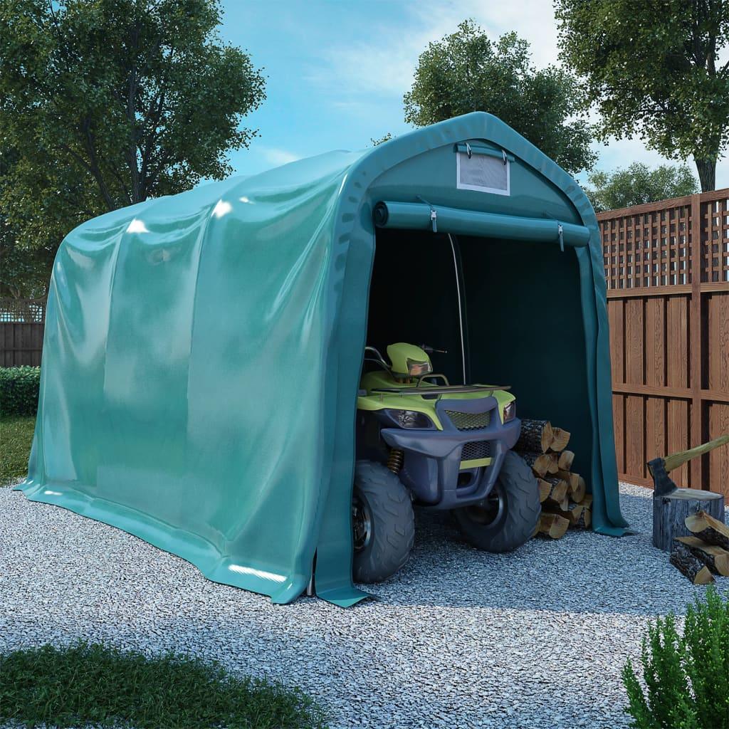 vidaXL Cort de garaj, verde, 2,4 x 3,6 m, PVC imagine vidaxl.ro