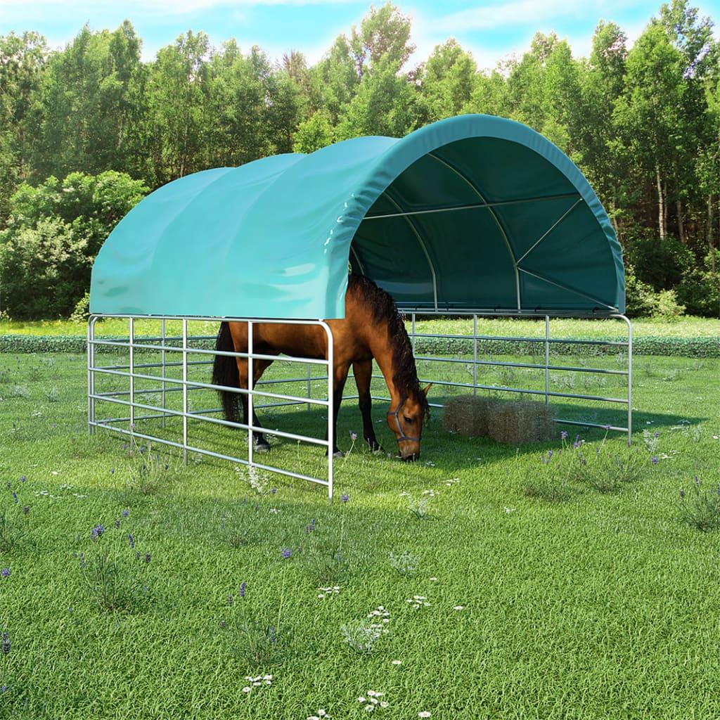 vidaXL Cort pentru animale, verde, 3,7 x 3,7 m, PVC poza 2021 vidaXL