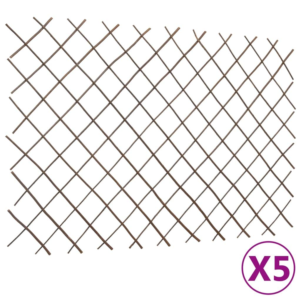 vidaXL Tuinlatwerken 5 st 180x120 cm wilgenhout