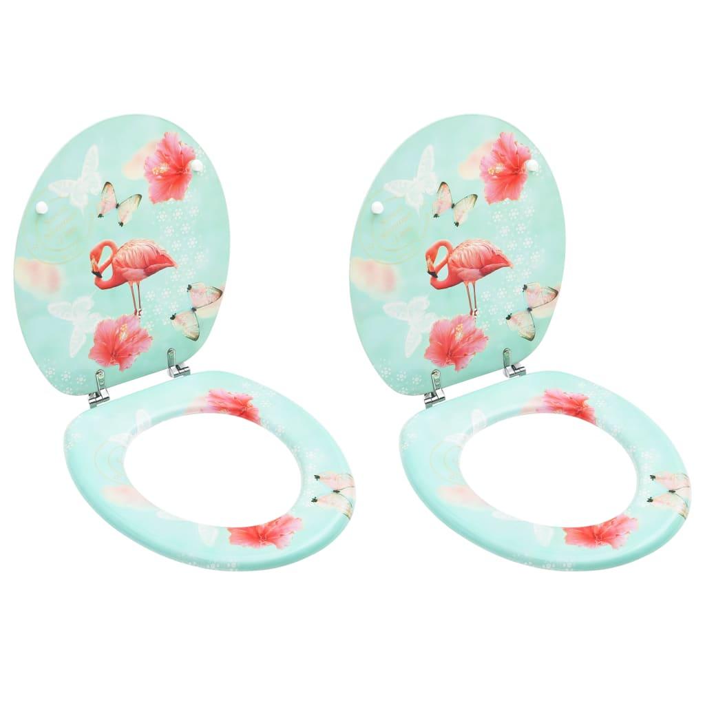 vidaXL Scaune WC cu capac, 2 buc., MDF, model flamingo imagine vidaxl.ro