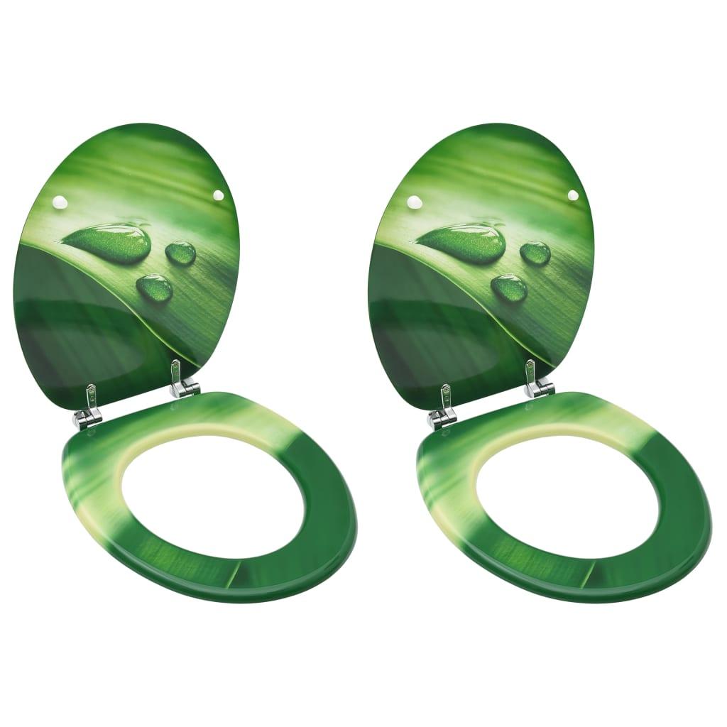 vidaXL Scaune WC cu capac, 2 buc., MDF, verde, model stropi de apă imagine vidaxl.ro
