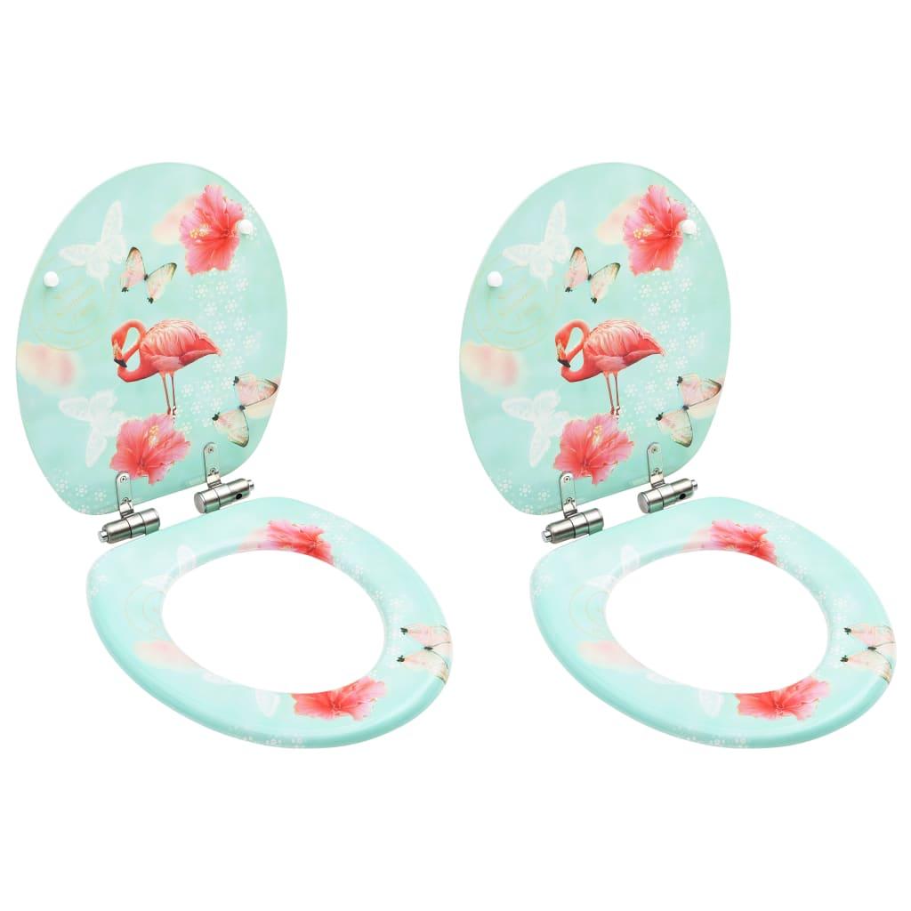 vidaXL Scaune WC cu capac silențios, 2 buc., MDF, model flamingo vidaxl.ro