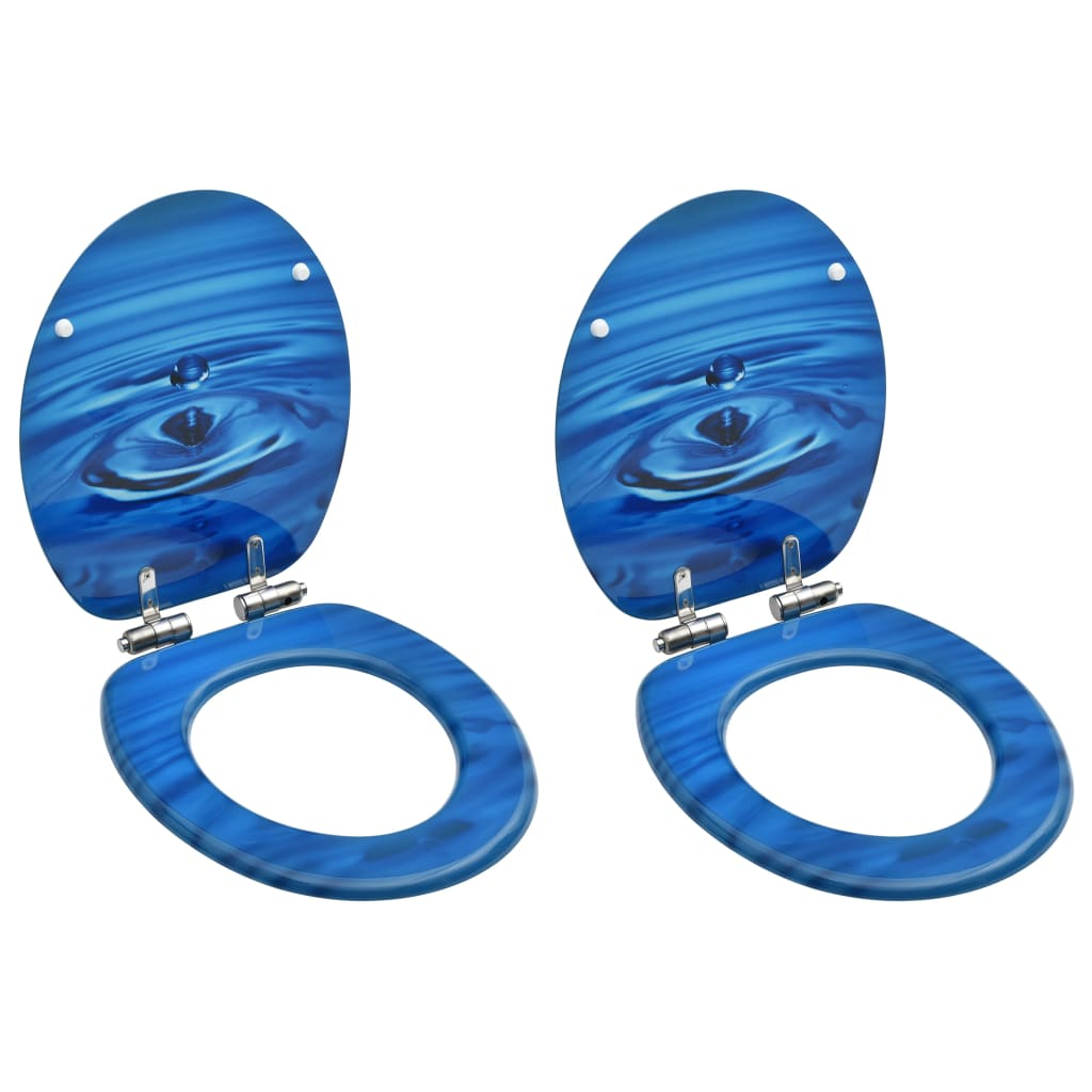 vidaXL Scaune WC capac silențios, 2 buc., albastru, MDF, model stropi imagine vidaxl.ro