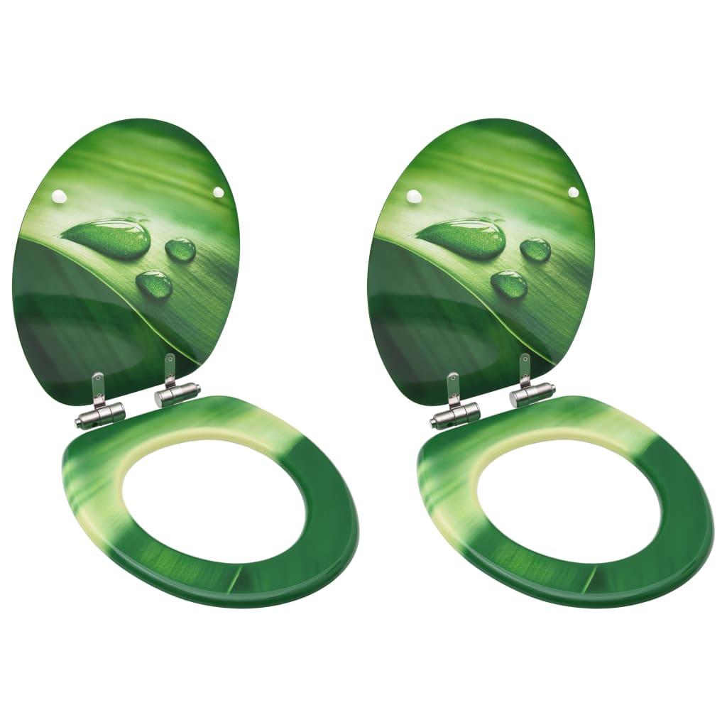 vidaXL Scaune WC capac silențios, 2 buc., verde, MDF, model stropi vidaxl.ro