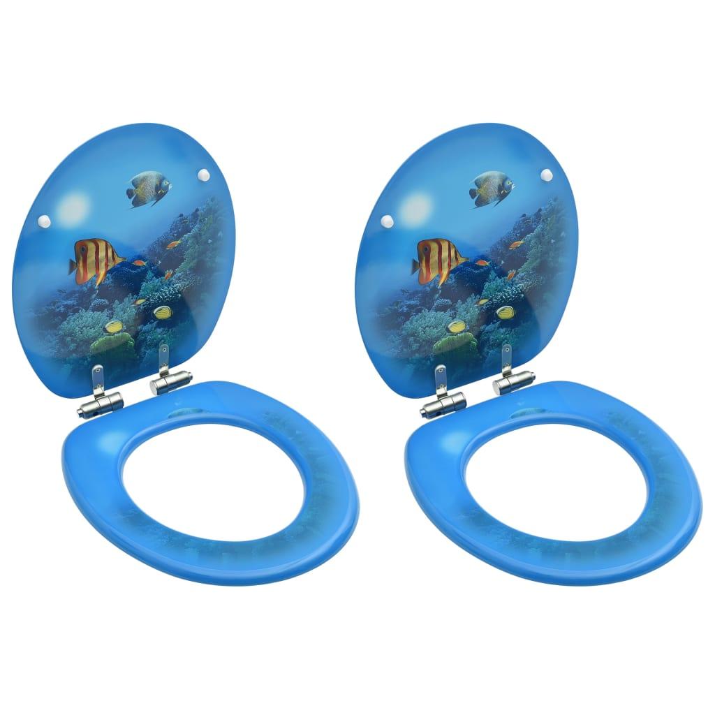 vidaXL Scaune WC, capac silențios, 2 buc., MDF, model maritim imagine vidaxl.ro