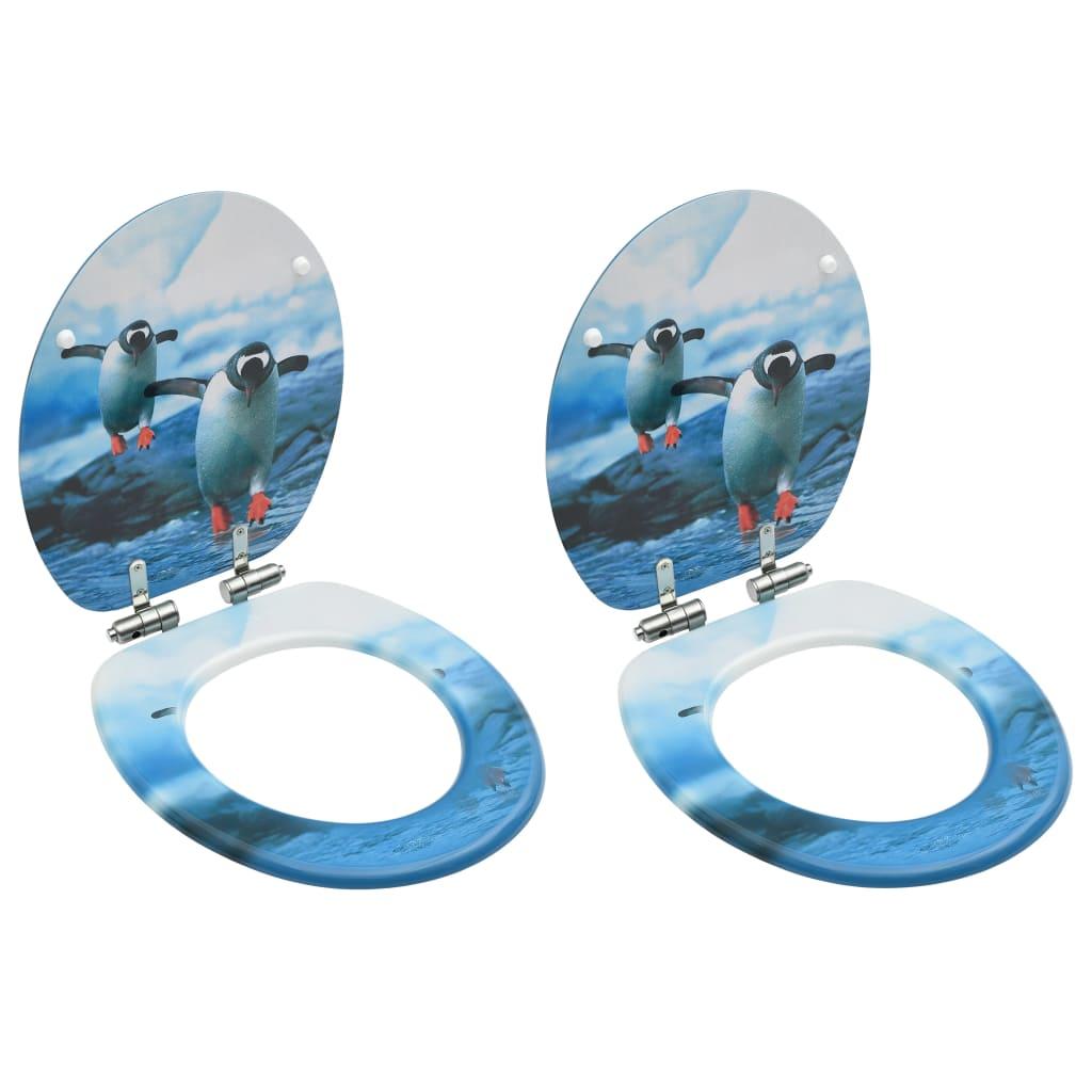 vidaXL Scaune WC, capac silențios, 2 buc., MDF, model pinguini imagine vidaxl.ro