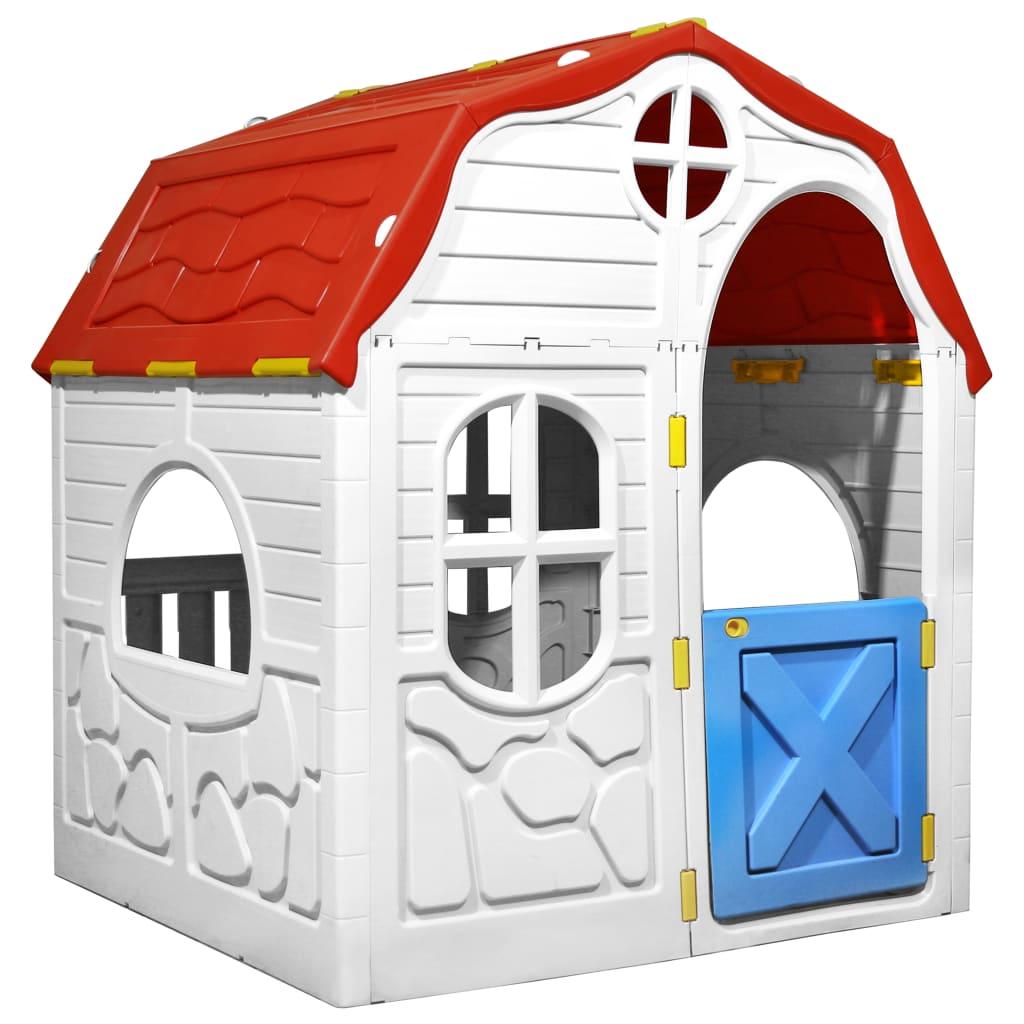 Skládací dětský domeček s funkčními dveřmi a okny