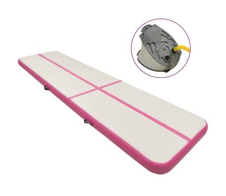 vidaXL Saltea gimnastică gonflabilă cu pompă roz 600x100x15 cm PVC