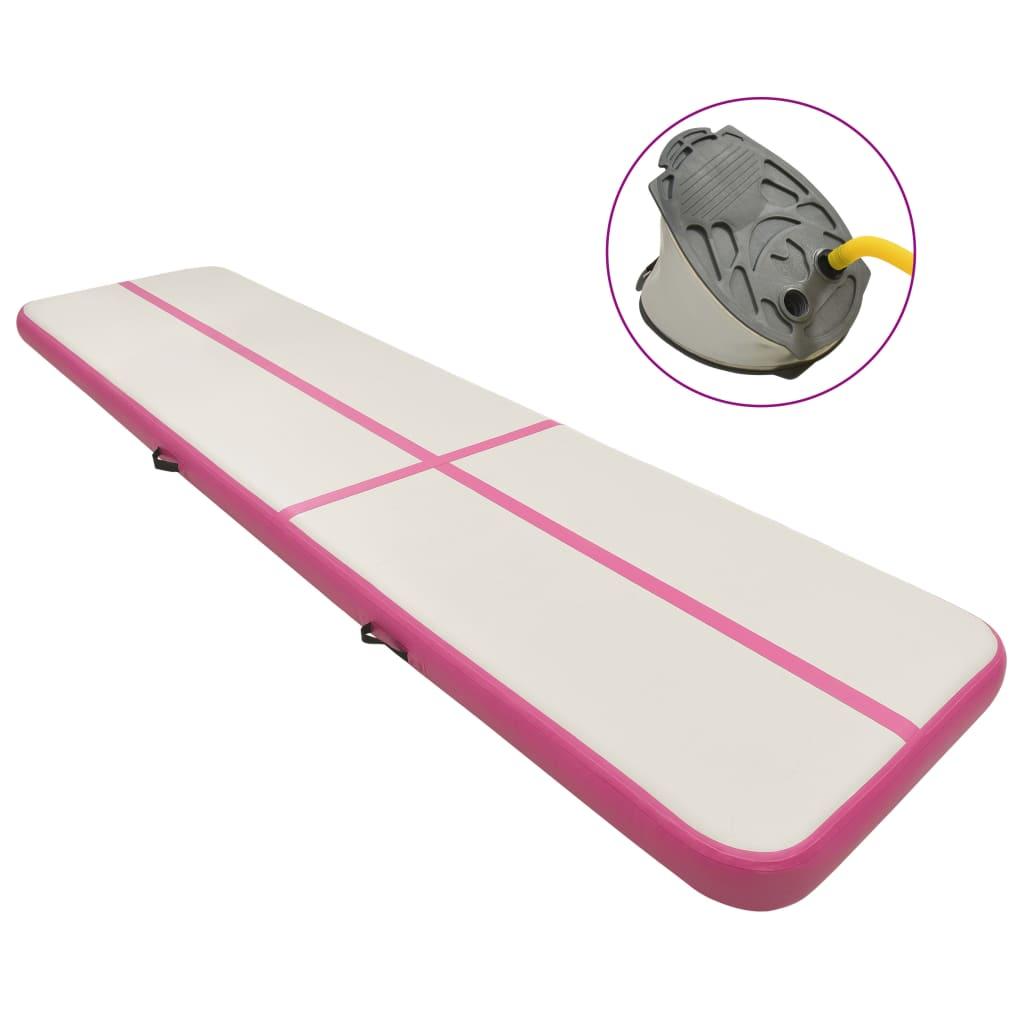 vidaXL Saltea gimnastică gonflabilă cu pompă roz 800x100x15 cm PVC imagine vidaxl.ro
