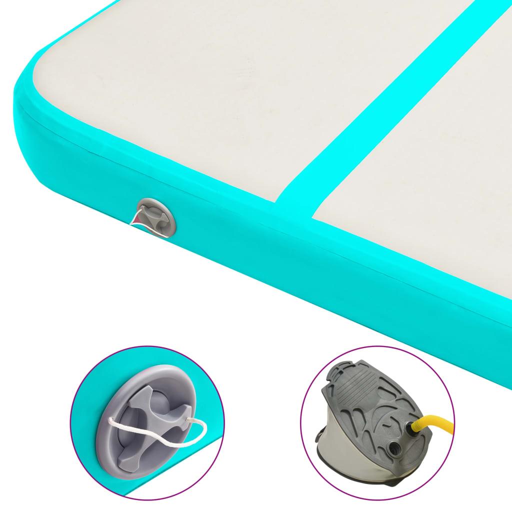 Täispumbatav võimlemismatt pumbaga 800x100x15 cm PVC roheline