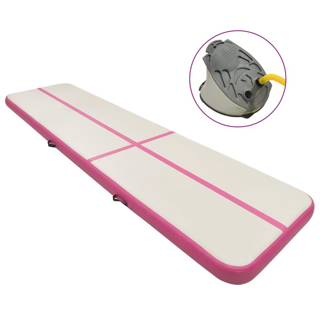 vidaXL Saltea gimnastică gonflabilă cu pompă roz 600x100x20 cm PVC imagine vidaxl.ro