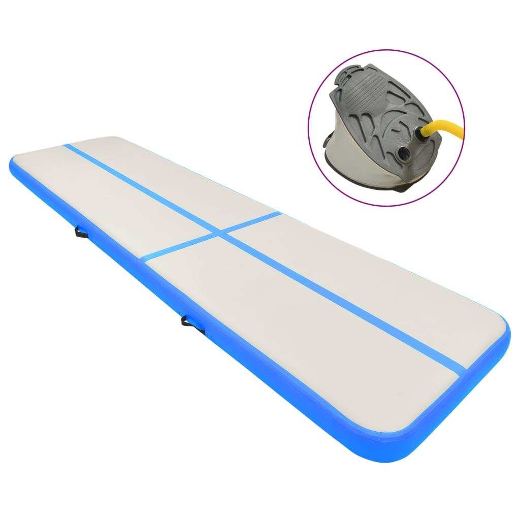 vidaXL kék PVC felfújható tornamatrac pumpával 600 x 100 x 20 cm