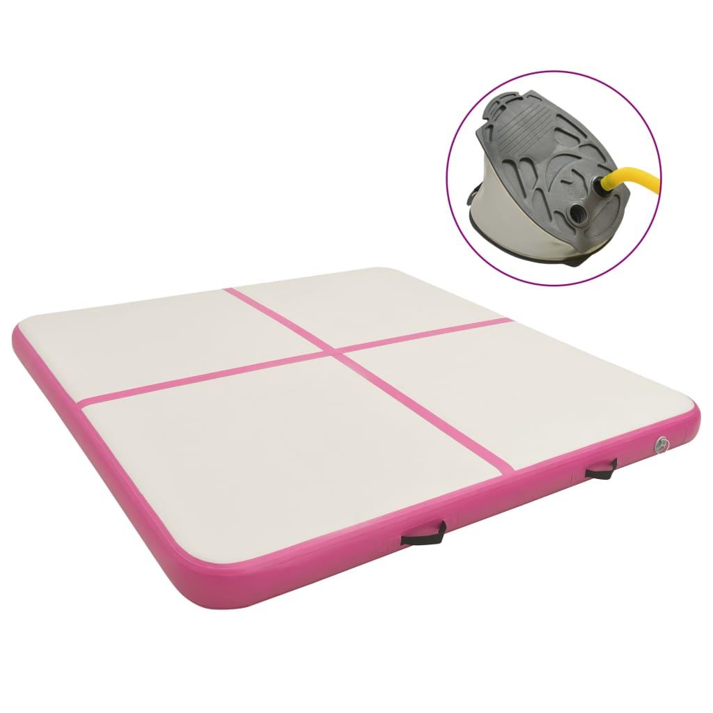 vidaXL Saltea gimnastică gonflabilă cu pompă roz 200x200x10 cm PVC imagine vidaxl.ro