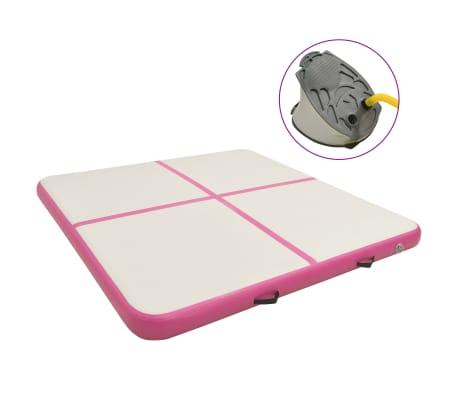 vidaXL rózsaszín PVC felfújható tornamatrac pumpával 200 x 200 x 10 cm