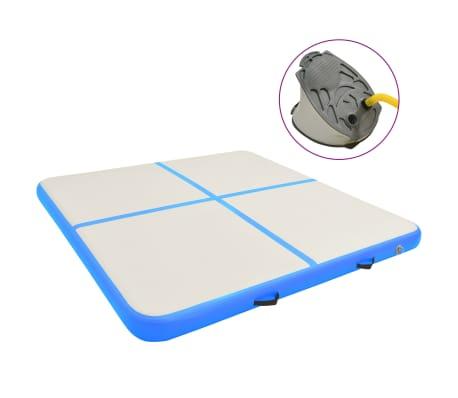 vidaXL Täytettävä voimistelumatto pumpulla 200x200x10 cm PVC sininen