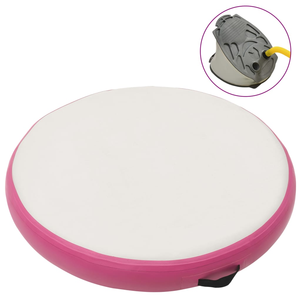 vidaXL rózsaszín PVC felfújható tornamatrac pumpával 100 x 100 x 15 cm