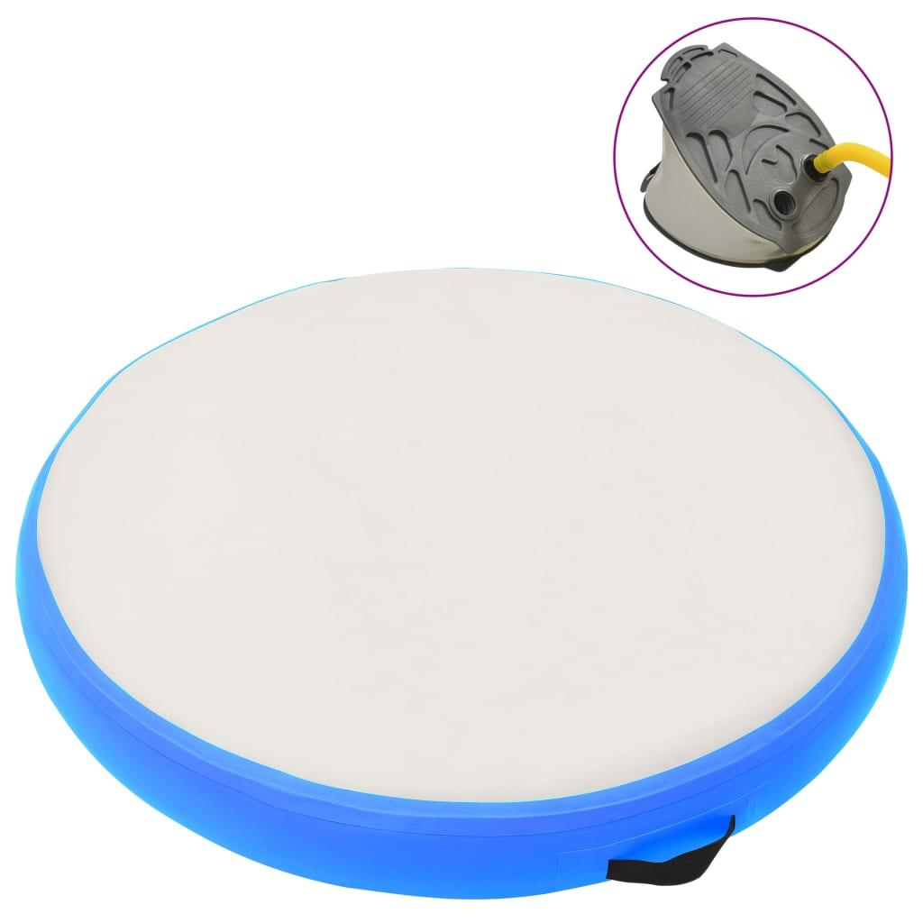 vidaXL Saltea de gimnastică gonflabilă cu pompă bleu 100x100x15 cm PVC imagine vidaxl.ro