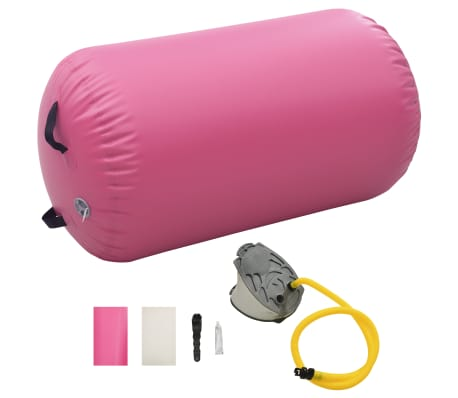 vidaXL Inflatable Gymnastic Roll with Pump 100x60 cm PVC Pink