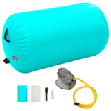 vidaXL Inflatable Gymnastic Roll with Pump 100x60 cm PVC Green