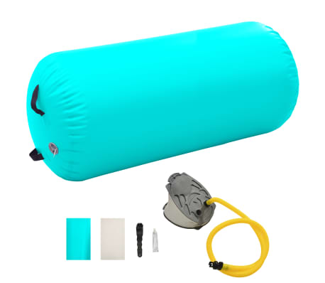 vidaXL Rouleau gonflable de gymnastique avec pompe 120x90 cm PVC Vert