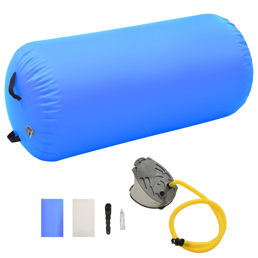 vidaXL kék PVC felfújható tornahenger pumpával 120 x 90 cm