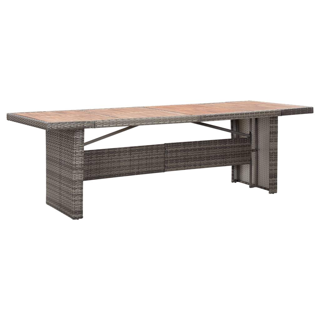 vidaXL Zahradní stůl 240x90x74 cm polyratan a masivní akáciové dřevo