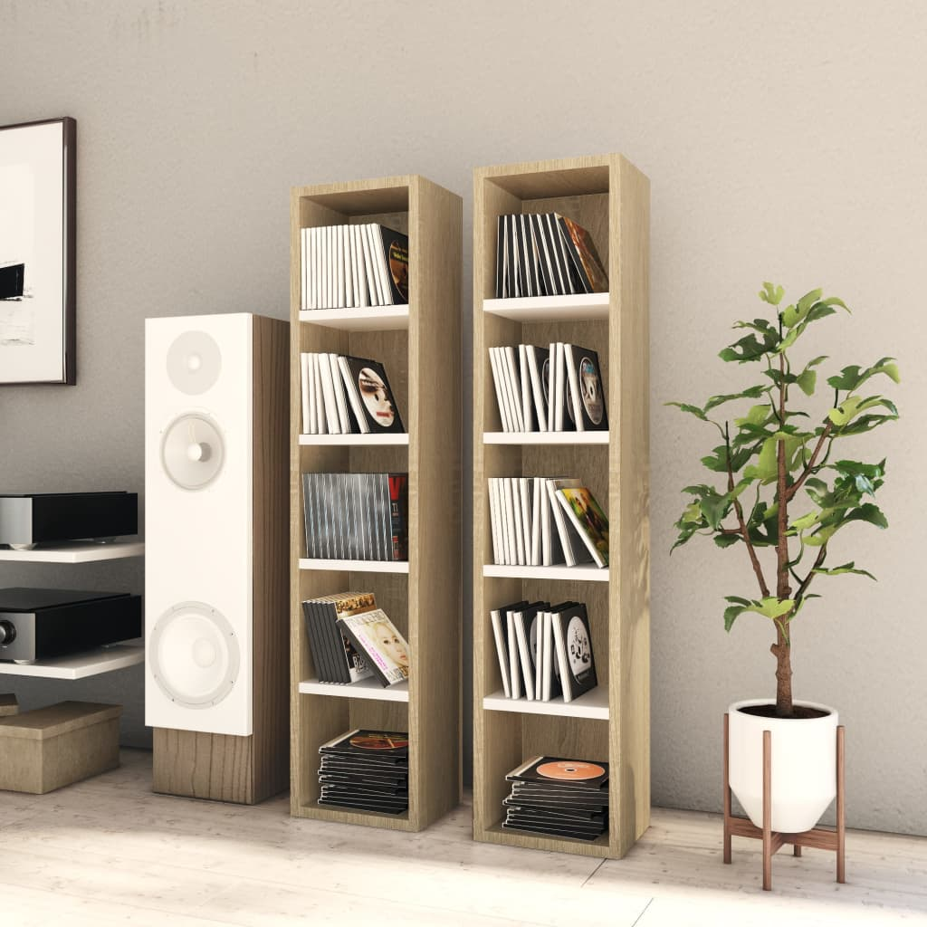 vidaXL Dulapuri CD-uri, 2 buc. alb/stejar Sonoma, 21x16x93,5 cm, PAL imagine vidaxl.ro