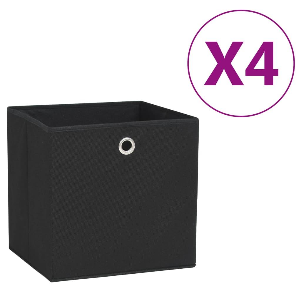 vidaXL Cutii depozitare, 4 buc., negru, 28x28x28 cm, material nețesut poza 2021 vidaXL