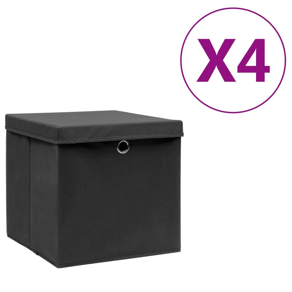 vidaXL Cutii depozitare cu capac, 4 buc., negru, 28 x 28 x 28 cm poza 2021 vidaXL