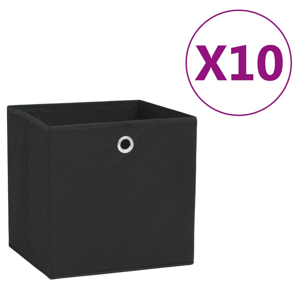 vidaXL Cutii depozitare, 10 buc., negru, 28x28x28 cm, material nețesut vidaxl.ro
