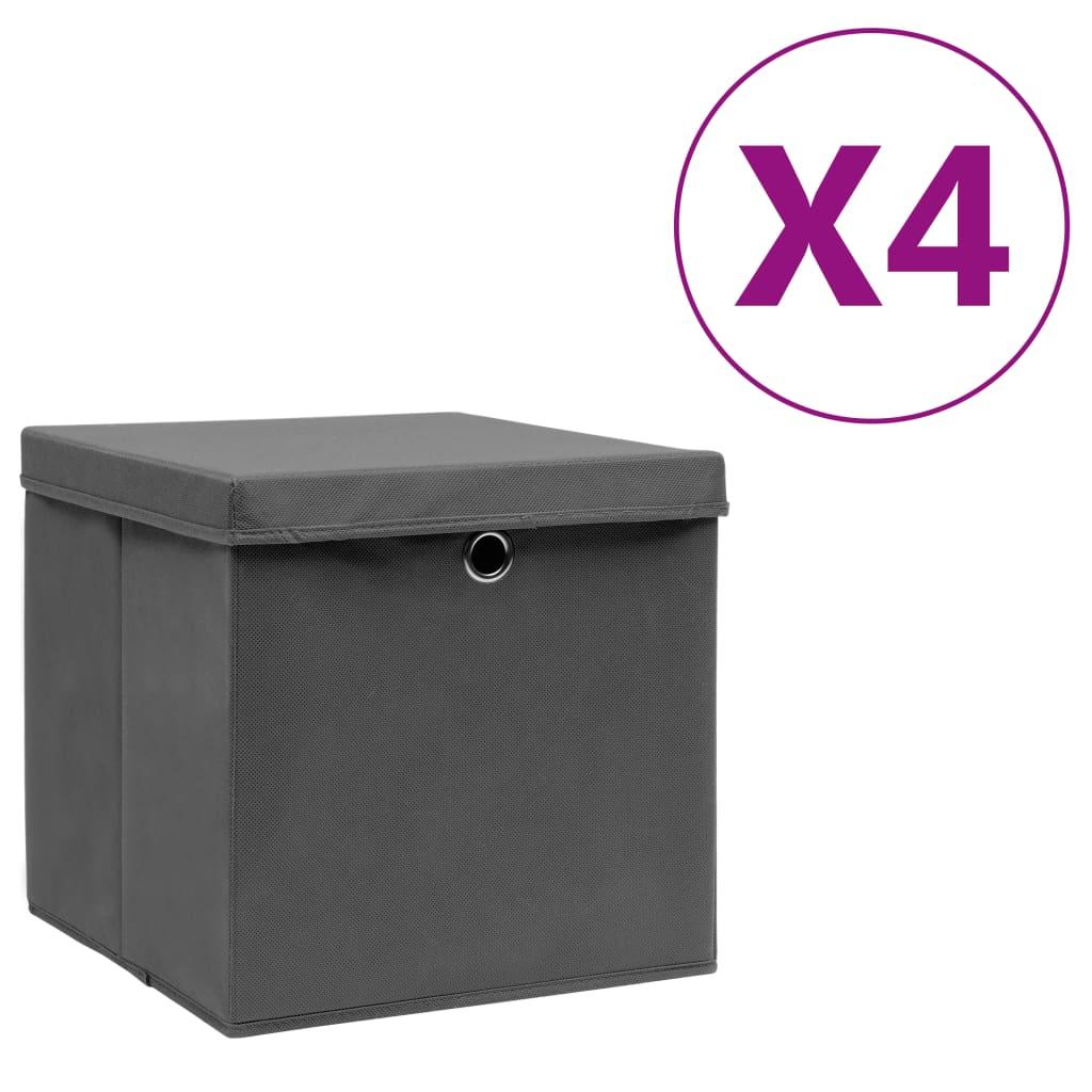 vidaXL Cutii depozitare cu capac, 4 buc., gri, 28x28x28 cm vidaxl.ro