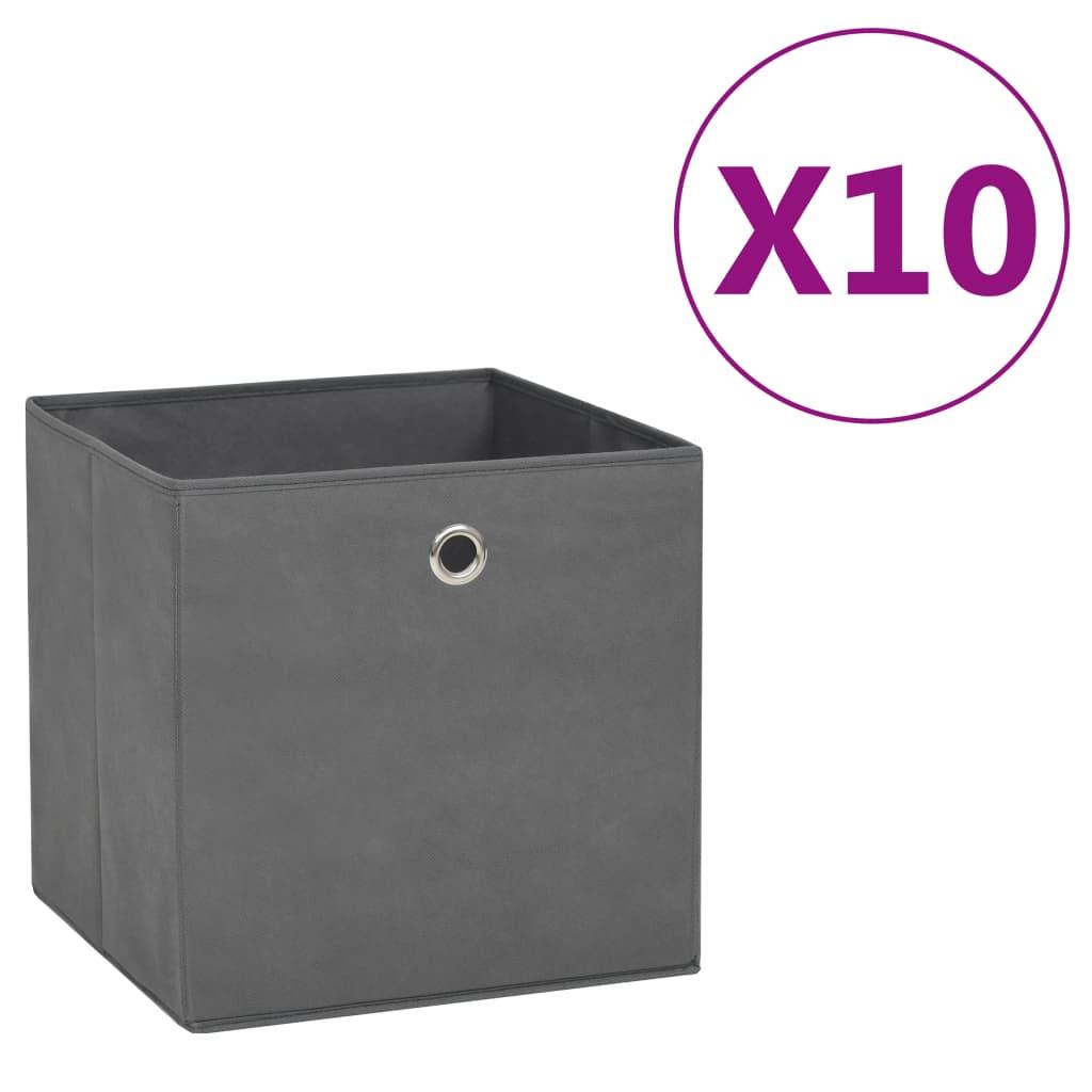 vidaXL Cutii depozitare, 10 buc., gri, 28x28x28 cm, material nețesut vidaxl.ro