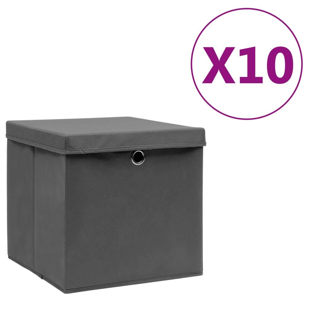 vidaXL Cutii depozitare cu capac, 10 buc., gri, 28x28x28 cm imagine vidaxl.ro