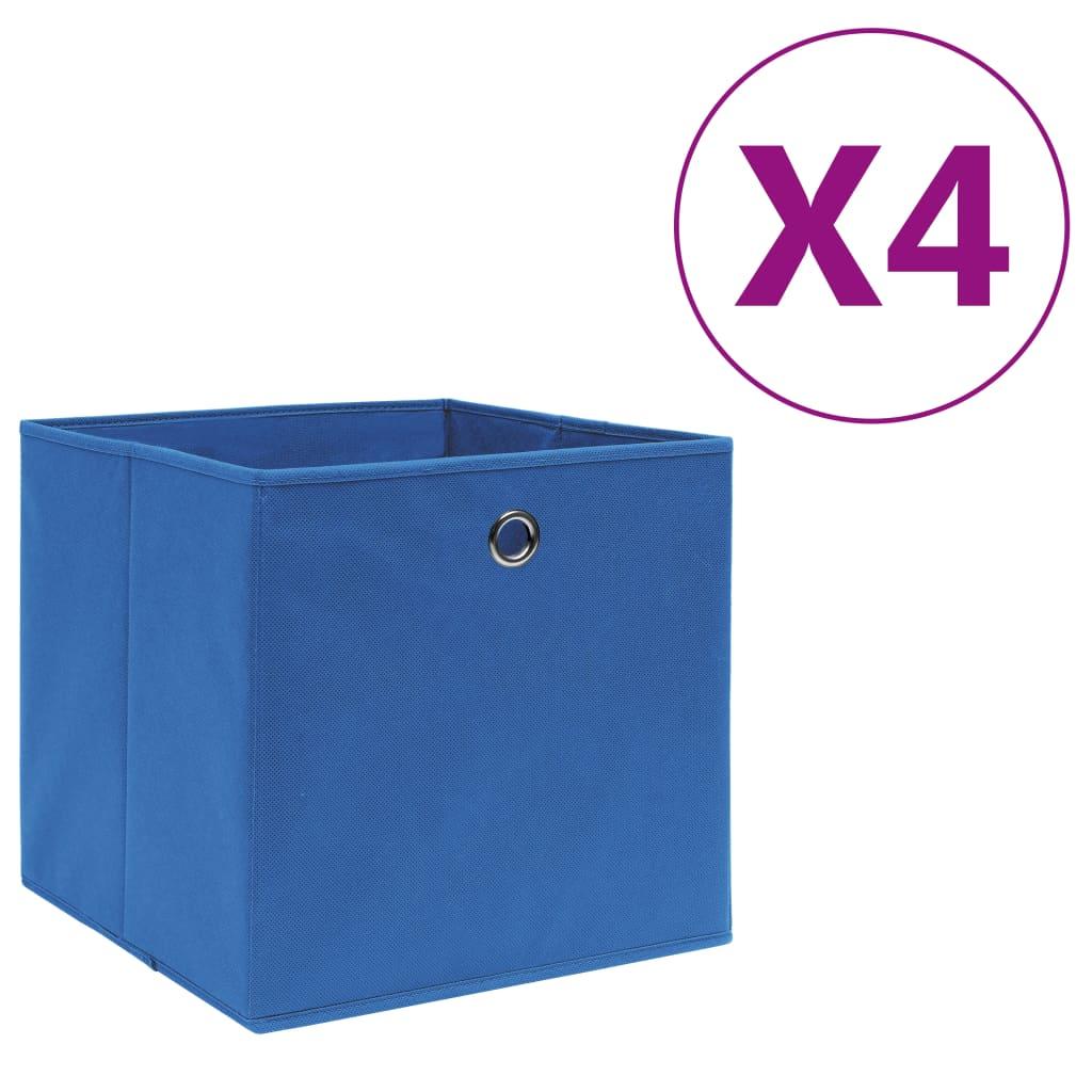 vidaXL Cutii depozitare, 4 buc., albastru, 28x28x28 cm, textil nețesut poza 2021 vidaXL