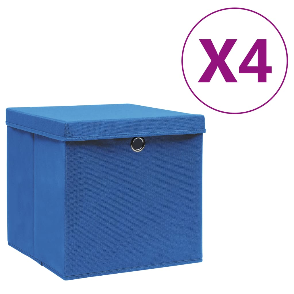 vidaXL Cutii depozitare cu capac, 4 buc., albastru, 28x28x28 cm poza vidaxl.ro
