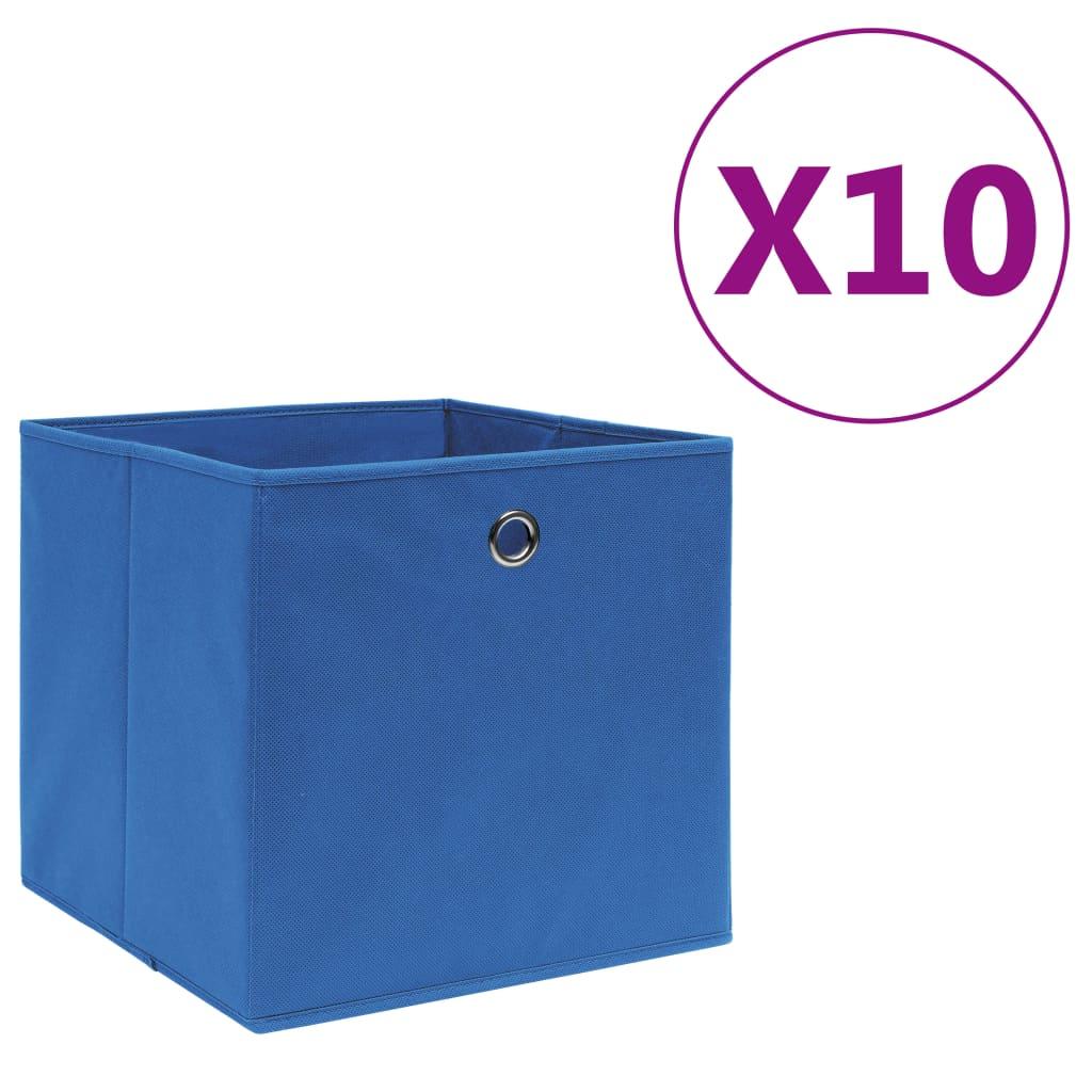 vidaXL Cutii depozitare 10 buc. albastru 28x28x28 cm material nețesut imagine vidaxl.ro