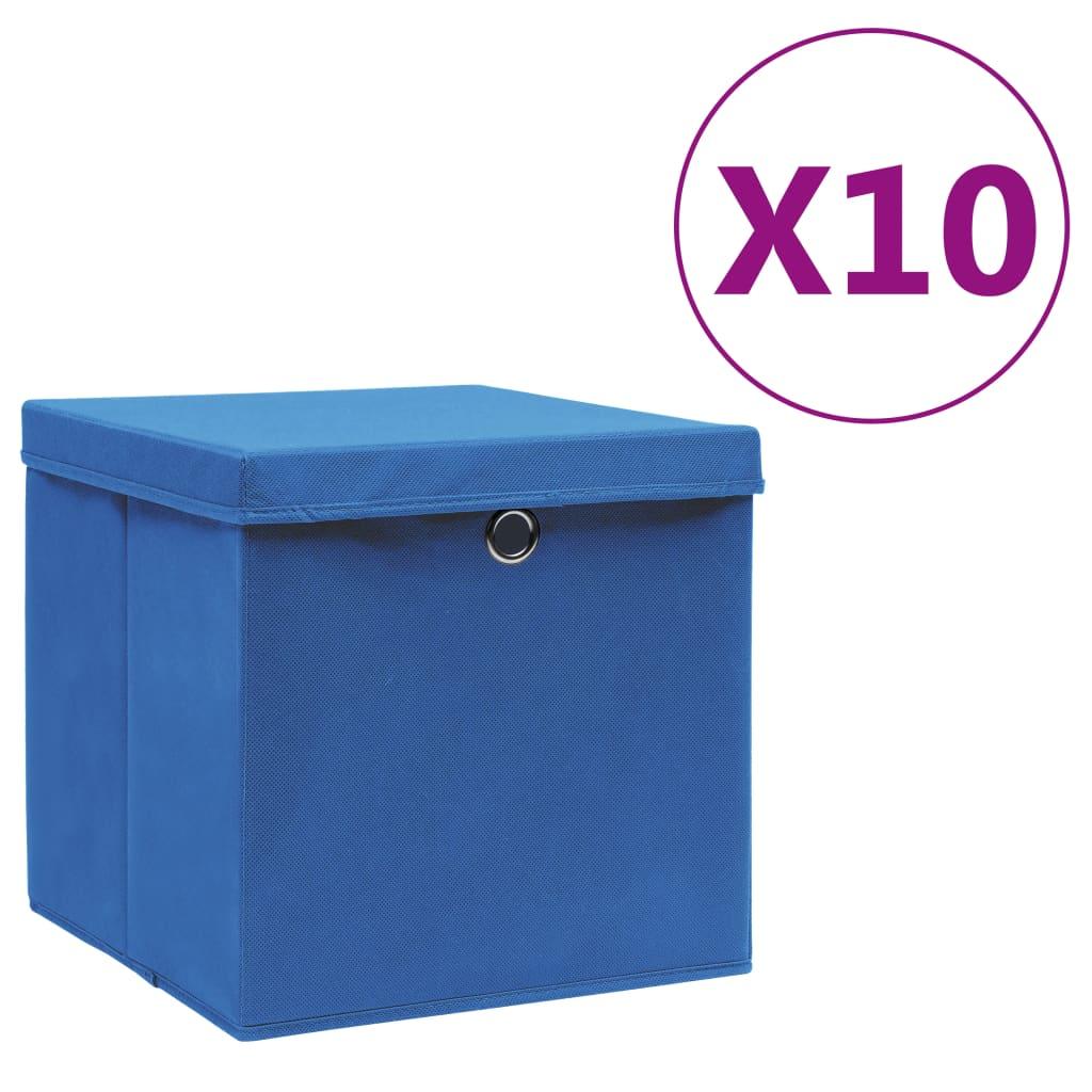 vidaXL Cutii de depozitare cu capac, 10 buc., albastru, 28x28x28 cm poza 2021 vidaXL