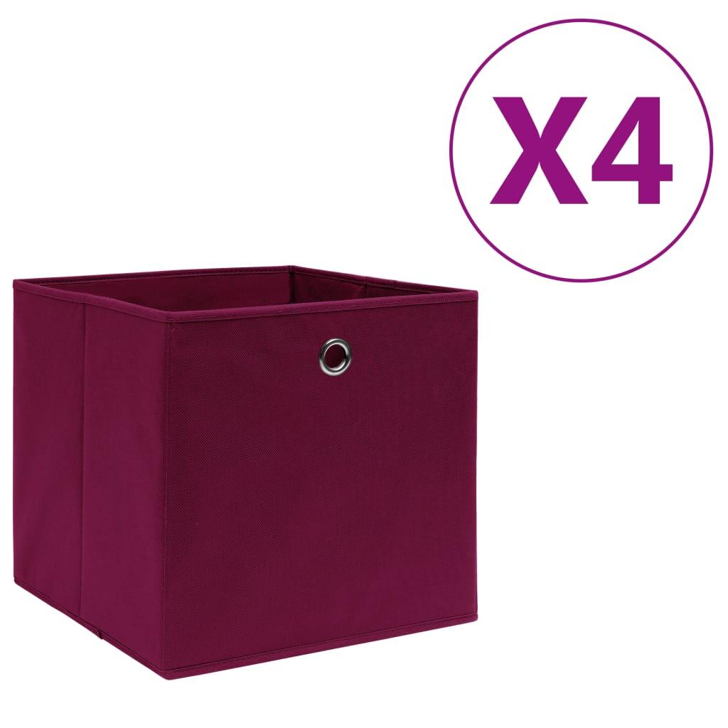 vidaXL Cutii depozitare, 4 buc., roșu închis, 28x28x28 cm, textil vidaxl.ro