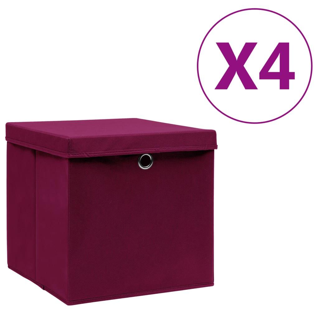 vidaXL Cutii depozitare cu capac, 4 buc., roșu închis, 28x28x28 cm imagine vidaxl.ro